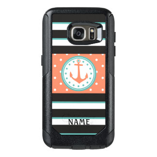 Nautical Stripes & Anchor w/ Name(Coral/Turquoise) OtterBox Samsung Galaxy S7 Case