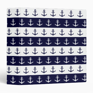 Nautical stripes and anchor pattern 3 ring binders