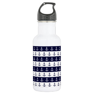 Nautical stripes and anchor pattern 532 ml water bottle