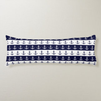 Nautical stripes and anchor pattern body pillow