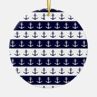 Nautical stripes and anchor pattern ceramic ornament