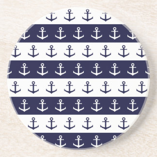 Nautical stripes and anchor pattern coaster