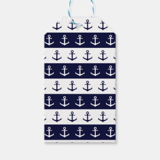 Nautical stripes and anchor pattern gift tags