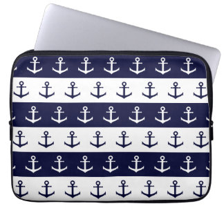Nautical stripes and anchor pattern laptop computer sleeves