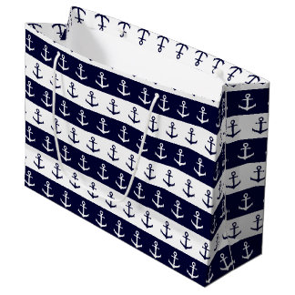 Nautical stripes and anchor pattern large gift bag