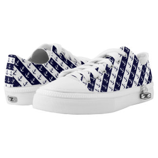 Nautical stripes and anchor pattern Low-Top sneakers