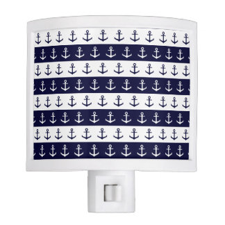 Nautical stripes and anchor pattern nite light