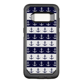 Nautical stripes and anchor pattern OtterBox commuter samsung galaxy s8 case