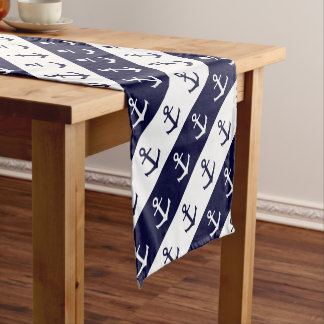 Nautical stripes and anchor pattern short table runner