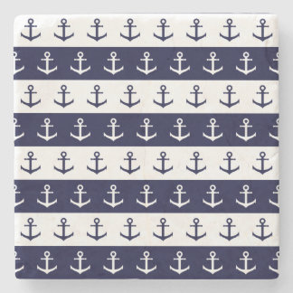 Nautical stripes and anchor pattern stone coaster