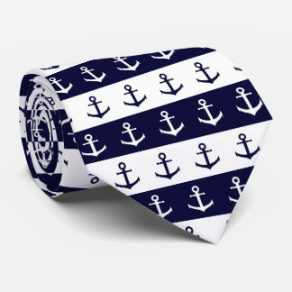 Nautical stripes and anchor pattern tie