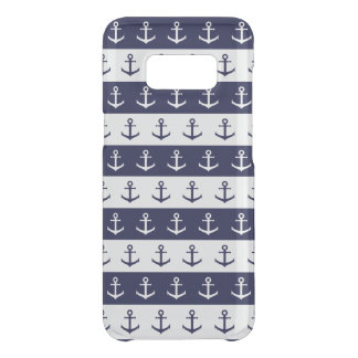 Nautical stripes and anchor pattern uncommon samsung galaxy s8 case