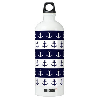 Nautical stripes and anchor pattern water bottle