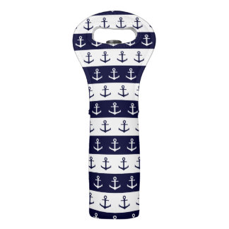 Nautical stripes and anchor pattern wine bag