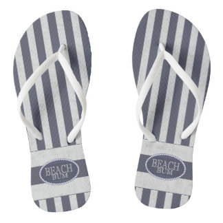 Nautical Stripes and Beach Bum Theme Flip Flops