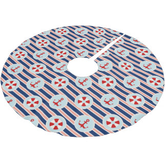 Nautical Stripes And Dots Pattern Brushed Polyester Tree Skirt