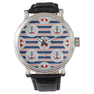 Nautical Stripes And Dots Pattern Wrist Watches