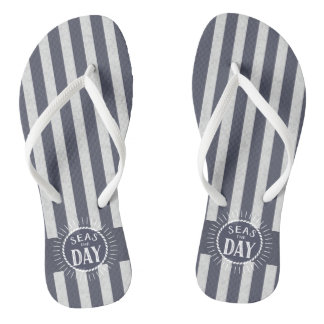 Nautical Stripes and Seas the Day Sunburst Flip Flops