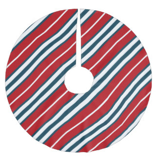 Nautical stripes brushed polyester tree skirt