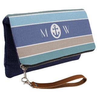 Nautical Stripes custom monogram clutch bag