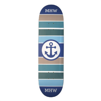 Nautical Stripes custom monogram skateboards