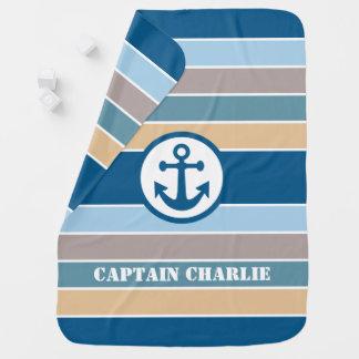 Nautical Stripes custom text baby blanket
