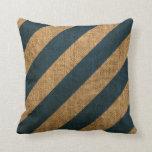 Nautical Stripes in Deep Sea Blue Throw Pillows