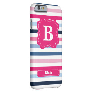 Nautical Stripes Monogram Barely There iPhone 6 Case