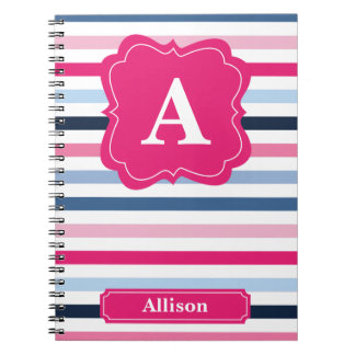 Nautical Stripes Monogram Spiral Notebook