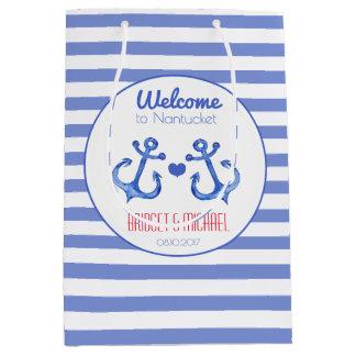Nautical stripes & Navy Anchor Wedding Welcome Bag