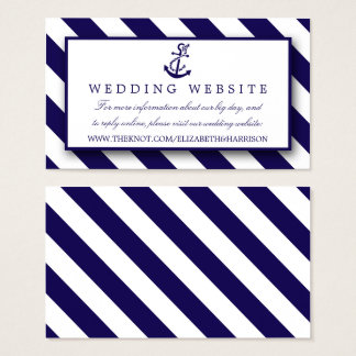 Nautical Stripes & Navy Blue Anchor Wedding Business Card