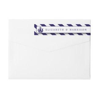 Nautical Stripes & Navy Blue Ship Wedding Wraparound Return Address Label