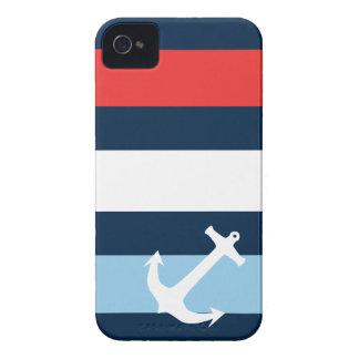 Nautical stripes sea anchor navy blue iPhone 4 Case-Mate case