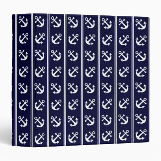 Nautical stripes with anchors binders