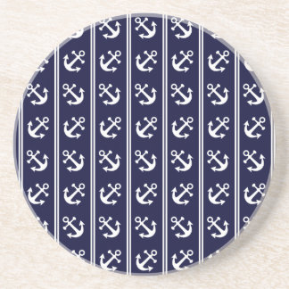 Nautical stripes with anchors coaster