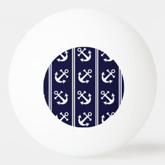 Nautical stripes with anchors ping pong ball