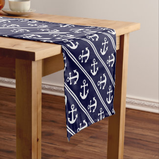 Nautical stripes with anchors short table runner