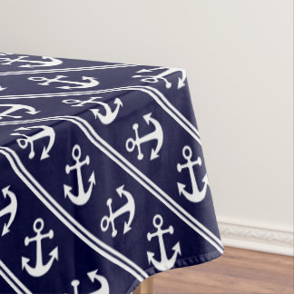 Nautical stripes with anchors tablecloth