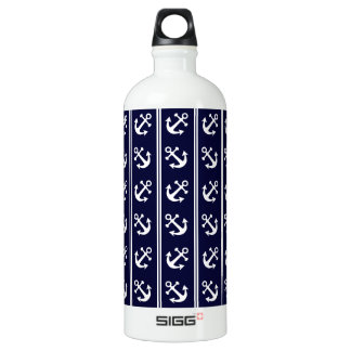 Nautical stripes with anchors water bottle