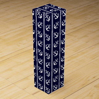 Nautical stripes with anchors wine bottle box