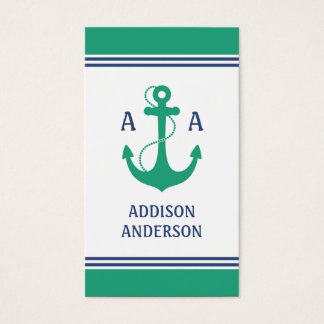 Nautical Stripes with Green Anchor Monogram Business Card