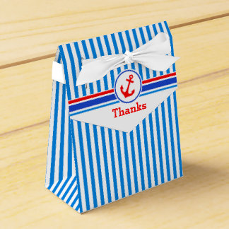 Nautical stripes with red anchor thanks gift box wedding favor boxes