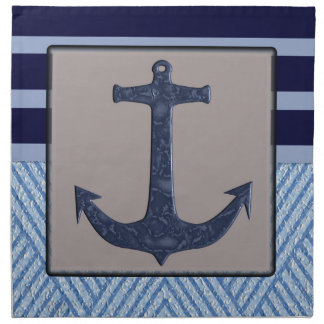 Nautical stripes with ships anchor napkin