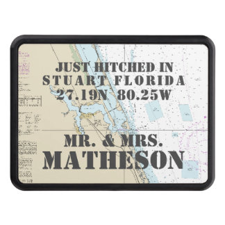 Nautical Stuart Florida Just Hitched Just Married Trailer Hitch Cover