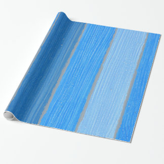 Nautical style blue painted wood wrapping paper