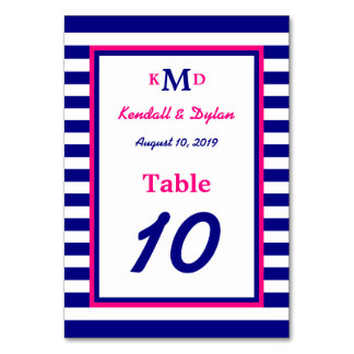 Nautical Table Number Card Navy and Pink