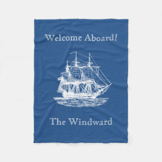Nautical Tall Ship Sailing Pick Any Color Fleece Blanket