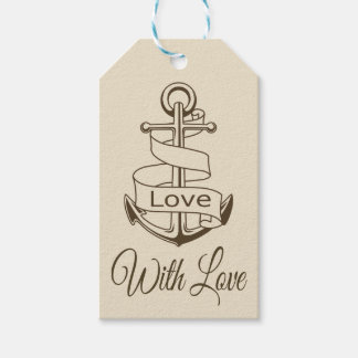 Nautical Tan Brown Ship Anchor  Love Wedding Party Gift Tags