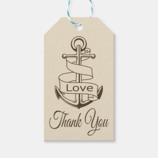 Nautical Tan Brown Ship Anchor Thank You Wedding Gift Tags