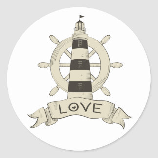 Nautical Tan Lighthouse & Ship Anchor Sailor Love Classic Round Sticker